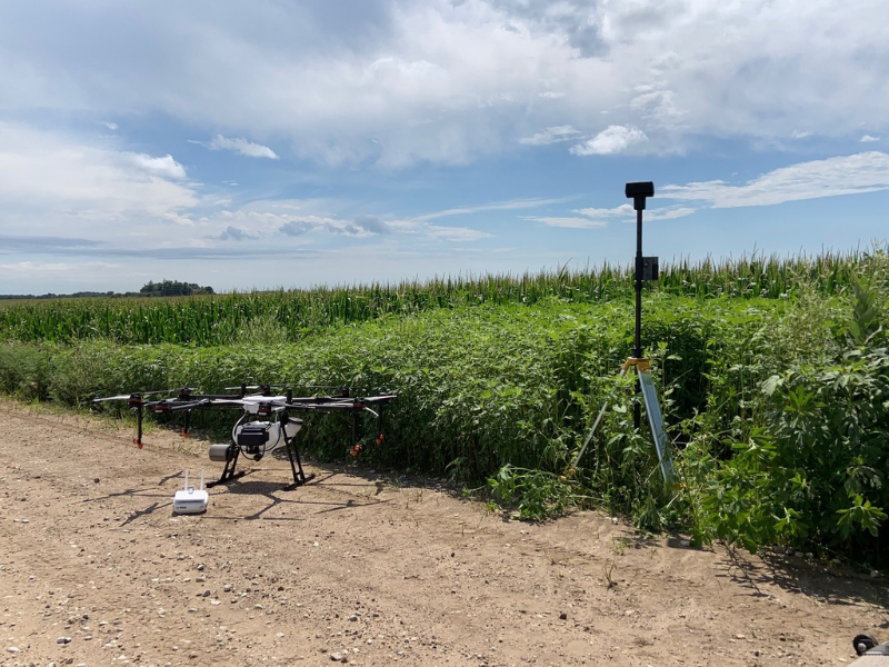 RTK drone for agricultural spraying sits ready to fly in Iowa