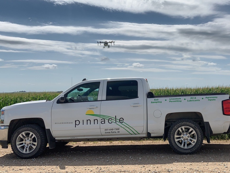 Pinnacle Group out of Iowa Falls, Iowa providing drone application services to farmers