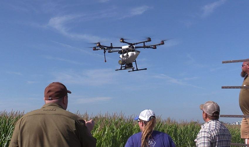 Rantizo drone seeds cover crops over corn in central Iowa