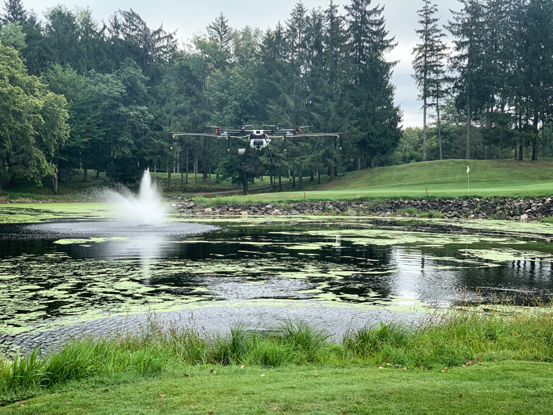 Rantizo contractor, Ken Rost of Frost Inc. shares photos of his drone spraying ponds on golf course
